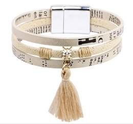 Wholesale Tin Box Cards - New bracelet titanium steel magnetic buckle small fresh tassel hanging handle jewelry card wow stainless steel buckle bracelet