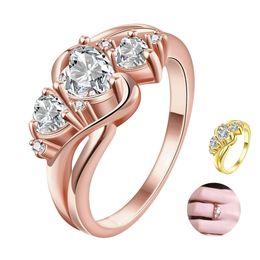 кольцо из желтого золота 14к Скидка Три каменных кольца Сердце Shaped AAA Кубический цирконий Кольцо Романтический подарок Свадебные украшения 24k Желтое золото Розовое золото Позолоченное кольцо Женщины Мода
