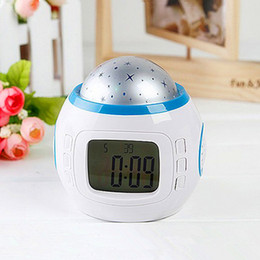 Wholesale Digital Clock Lamp - Star Night Lighting Lamp Projection Clock Music Player Clock With Music Backlight Led Night Light Thermometer Calendar For Kids Bedroom