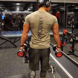 Wholesale Leaders Clothing - Muscle Leader Sports Short Sleeve Bodysuit Sports Suit Sports Tights Breathable Short Sleeve T-shirt Man Workout Clothes Free Shipping