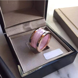 Wholesale Titanium Rose Wedding Band - Famous Brand Top Quality 316L Stainless Steel Rings with Pink Ceramic in Gold and Rose Gold and Silver Plated Women Rings Fashion Wedding Je