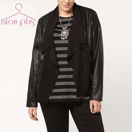 Wholesale Vintage Leather Jackets For Women - Wholesale- woman leather jackets coats Plus Size 6xl 5xl 2016 Autumn PU Patchwork Slim jacket women coat Europran Style Clothes For Women