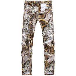Wholesale Beige Slacks Men - Wholesale- 2016 New Mens Snakeskin Printed Jeans Slim Fit Skinny Night Club DJ Trousers Pants Slacks For Male Plus Size