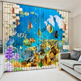 Wholesale Modern Window Blinds - New Custom 3D Beautiful Luxury European Modern brick ocean dolphin custom curtain