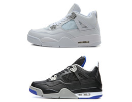 chaussures de basket luisent vert Promotion 4s chaussures de basket-ball 4s alternatif sports mécaniques argent pur ciment blanc royauté élevé tonnerre lueur verte baskets chat noir