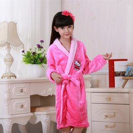 Wholesale Hooded Robes For Children - New Year Gifts Cartoon Lovely Cat Children Flannel Bathrobes Children Night Wear Soft Pajamas Robes For 6-16 Years Girls Best Gift Hot