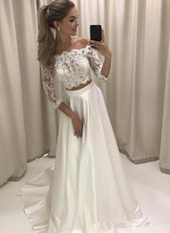 Wholesale Trendy Red Dresses - Trendy Two Pieces Prom Dresses 2018 Off Shoulder 3 4 Sleeves Long Evening Party Gowns Lace Top A Line Dress