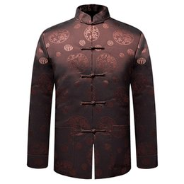 Wholesale Kung Fu Jackets Men - Wholesale- Coffee Brand New Arrival Chinese Traditional Men's Thin Dragon Kung Fu Jackets Wadded jacket M L XL XXL 3XL MTJ2015051