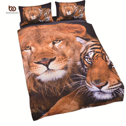 Wholesale Tiger Print Duvet Cover - Wholesale- New Arrival Tiger Bedding Set Cool Printed Duvet Cover Vivid 3D Comforter Twin Single Full Size Wholesale Sheets
