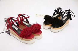 Wholesale Black Suede Lace Up Wedges - Stella Mccartney Tassels Sandals Hot in Florida USA Suede Leather Wedge Platform Elyse Nina