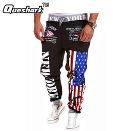 Wholesale Hiphop Jogging Pants - Wholesale- Men Letter Print Harem Pants Sweat Fitness Trousers Sports Hiphop Slim Fitness Jogging Tracksuit Bottoms Running Joggers Pants