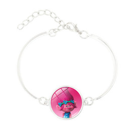 Wholesale Silver Bangles For Children - Hot! 5pcs Anime Jewelry with Silve Plated DreamWorks Trolls Poppy Pattern Charm Statement Bracelet Bangle for Children Women