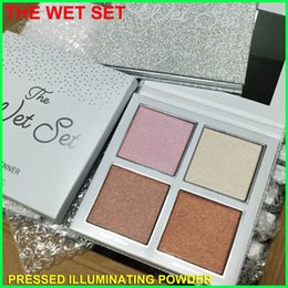 Wholesale Eyes Control - In Stock Kylie Holiday The Wet Set 4 Colors Bronzer & Highlighter holiday Edition illuminating Powder highlighters pressed Eye shadow Kit
