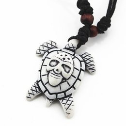 Wholesale Turtle Necklace Bone - Fashion Jewelry Bionic Bone Carving Lucky Surfing Turtles Pendant Necklace Imitation Bone Length Adjustable Cord Jewelry For Man Women