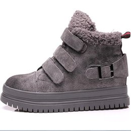 winter thick soled shoes Promo Codes - Women winter warm snow boots thick shoe sole lamb wool fur ankle boots classic windproof big size cotton shoes size 35-39