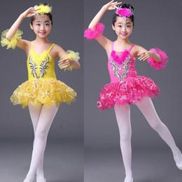 Wholesale Children Swan Ballet Costume - Colors Girls Ballet Tutu Dance Dress Children Professional Swan Lake Dancewear Stage Costumes Stage wear daceing dress Platter Dance Skirt