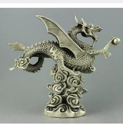 Material raro on-line-Decoração artesanato Material de Cobre prata Rare collectible Tibet Silver dragon Statue