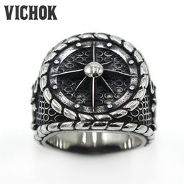 Wholesale Mens Anchor Rings - 316 L Stainless Steel ring Men's Navy Anchor Compass Element Design Finger Ring top fashion mens 2017 Punk rings VICHOK