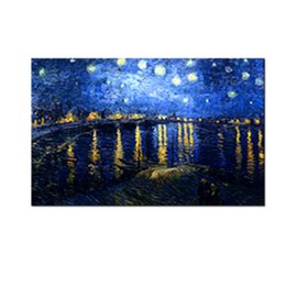 Wholesale van gogh starry night oil - 1 Picture Starry Sky Painting Van Gogh Artworks Printed On Canvas Night Sky Landscape Picture Wall Art For Home Wall Decoration Unframed