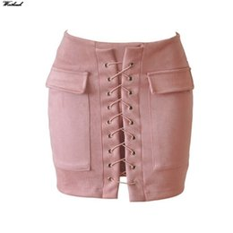 Wholesale Pink Bodycon Skirt - Wortheach Pocket Women Suede Skirt Cross Tie Leather Pink Pencil Mini Skirt Short Bodycon Sexy Split Skirts D012