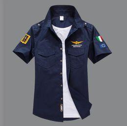 Wholesale Hot Mens Shirts - 2017 New Air Force One Pure Cotton Short Shirts Men Fashion Embroidery Aeronautica Militare MA01 Slim Fit Mens Shirt Brand Hot S-4XL