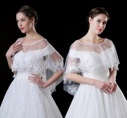 Wholesale Tulle Lace For Wedding Jacket - 2018 Cheap Lace Tulle Wedding Wraps with Delicate 3D Appliques Pearls Crystal Wedding Jacket Shawl Bolero For Sale Stock CPA909