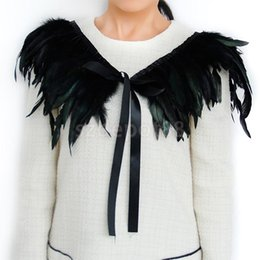 Wholesale Cape Necklaces - Wholesale- New 2015 Hand Made Black Feather Fake Collar Necklace Cape Shawl for Evening Fancy Dress Party