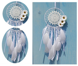 Wholesale India Style Bedroom - Dream Catcher White Lace Flowers Feather Dreamcatcher India Style Wall Hanging Decoration Ornament For Car Home Bedroom B945L