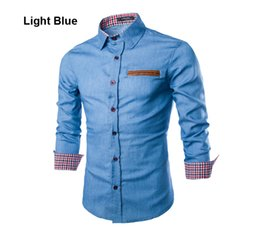 Wholesale Jeans Leather Sleeves - Wholesale- 2015 Spring Autumn Features Leather Pocket Shirts Men Casual Jeans Shirt New Arrival Long Sleeve Casual Slim Fit Male Shirts