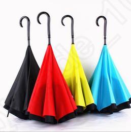 Regenschirm für autos online-Auto umgekehrte Regenschirme Inside Out Reverse Umbrella C J Griff Self Stand Umbrella Winddicht Regen Sonnenschirm Paraguas Umbrellas OOA1241