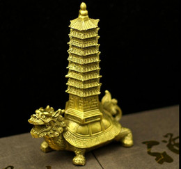Wholesale Dragon Pottery - Open pure bronze turtle tower copper Wenchang tower copper dragon turtle Wang Wen Yi help pottery Decoration