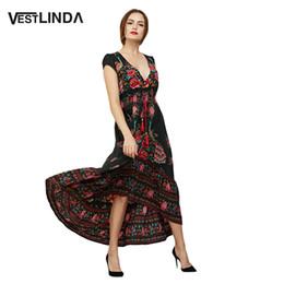 b5921dfec7c Wholesale- VESTLINDA Floral Print Maxi Dress Women Vintage A-Line Short  Sleeve V Neck Empire Summer Sun Dresses Ankle Length Long Dress