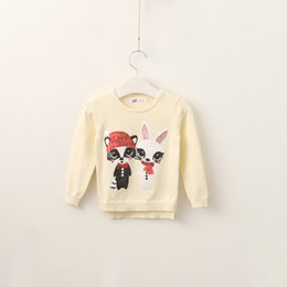 Wholesale Sweater Style Rabbit - Girls Knit Cartoon Pullover Baby Girls Sequins Rabbit Sweater Kids Girls Fashion Autumn Jumper tops 2017 childrens clothing