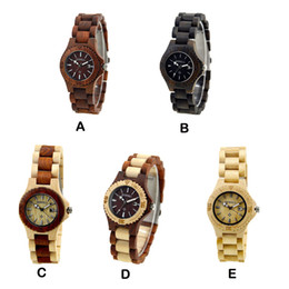 Wholesale Wholesale Brown Gift Boxes - Vintage Womens Watches Bewell Quartz Waterproof Wooden Watch with Gift Box 5 Styles Hot Sell 3009003