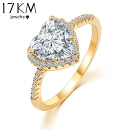 Wholesale Ring Promises - Romantic Heart Ring Gold Color Wedding Jewelry Clear Crystal Promise Ring For Women anillos anneaux CS12