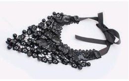 Wholesale Lace Choker Necklace Black Beads - Europe and the United Exaggerated Black Crystal Beads Lace Necklace Resin big collar fake collar Choker Jewelry for Sale