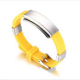 Wholesale Silicone Friendship Bracelet - Silicone Sport Bracelet for Men Women Stainless Steel Medical Alert ID Tag Wristband Bangles Friendship Gift BS-049