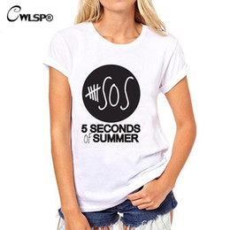 Wholesale T Shirt Wholesales - Wholesale- CWLSP Women T Shirts Fashion 5 Seconds Of Summer SOS Letter Print Cotton T-Shirt Casual Short Sleeve T shirt Camisetas QA921