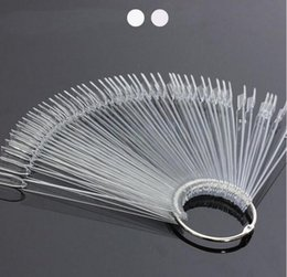 Wholesale fan nails - 50tips Fan Board Practice Display Nail Art Colors Chart Clear white Stick False Nails Tips Nail Art Display Tools