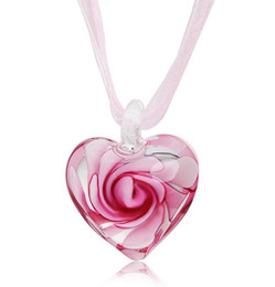 Wholesale Italian Fashion Jewelry - Heart With Flowers Inside Lampwork Murano Italian Venetian Glass Fashion Pendants Necklaces Handmade Jewelry Free Shipping