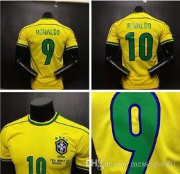 Wholesale Top Quality Jerseys - Top quality ! Retro jersey soccer jerseys Brazil 1998 World cup Brasil Ronaldo  Rivaldo   R. Carlos football Jerseys shirt free shipping