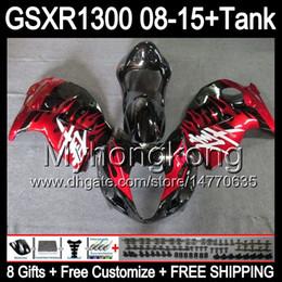 Wholesale Hayabusa Red - red flames 8gifts For SUZUKI Hayabusa GSXR1300 2008 2009 2010 2011 14MY155 GSXR-1300 GSX R1300 GSXR 1300 2012 2013 2014 2015 black Fairing