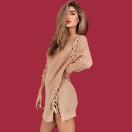 Wholesale Womens Xl Sweater Dress - Womens Fashion Loose Side Bandage Knitting Sweaters For Female Fall Winter New Casual Knitted Pullovers Dresses Sweater