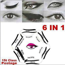 Wholesale Liner Stencil - 2017 6 in 1 eyeliner Multifunction Eye Stencil Cat Eyeliner Stencil For Eye Liner Template Card Fish Tail Double Wing Eyeliner Stencil