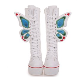 Wholesale Period Shoes - spring and autumn period New opaque canvas shoes with high heels thick canvas boots shoes high XueShengChao female boots shoes