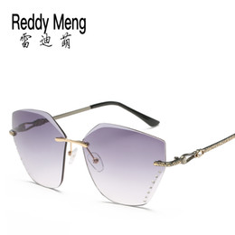 Wholesale Butterfly Play - Reedy Meng 2017 classic fashion summer outdoor travel rimless Sunglasses Women and lady fashion polarized eyeshield glasses A play wholesale