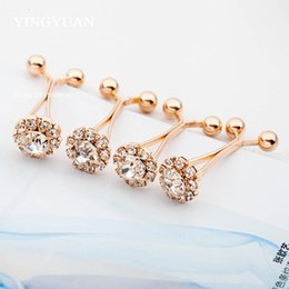 Wholesale Hijab Crystal Pins - SP59 Fashion elegant gold flower hijab pins brooches for women classic broches simple hijab pinsbrooches libelula spille