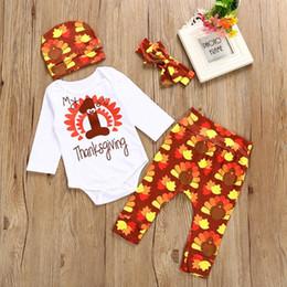 Wholesale Wholesale Clothing Turkey - Mikrdoo Newborn Baby Outfits Autumn Boys Girls Clothing Set Thanksgiving Costumes Turkey Romper + Tights + Bow Headband + Headband C2080