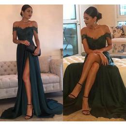 Wholesale Elegant Dress Top - 2017 Elegant Lace Top Prom Dress A-Line Hunter Green Chiffon High Split Side Slit Dresses Evening Wear Off Shoulder vestido Prom Party Dress