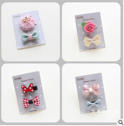 Wholesale Flowers For Clips - Good quality Bowknot flowers crown hair clips sets for kids hairpins baby clips barrettes the baby hairclips bb clips
